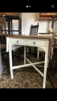 Victorian Mahogany Drop Leaf Carved Table Painted White