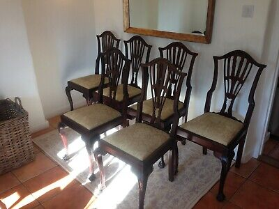 Set Of 6 Victorian Antique Carved Mahogany Claw And Ball Dining Chairs.