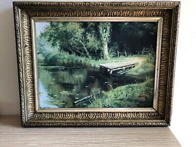 Antique  19 Th Century Painting Gouache  On Board, Signed   Original Frame.