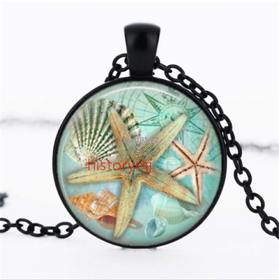 Starfish Art Necklace photo Glass Dome Chain Pendant Necklace wholesale NEW