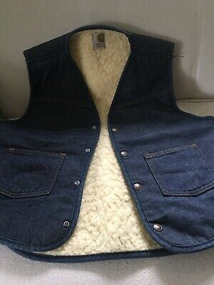 Vintage Men's Carhart Denim Vest Sherpa Lined Size Large Great Condition USA