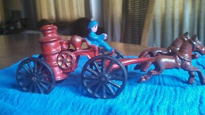 Vintage Cast Iron Horse Drawn Fire Truck Pumper with Fireman Antique Child's Toy