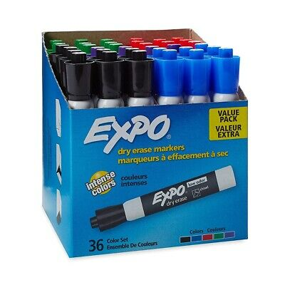 EXPO Low Odor Dry Erase Markers, Chisel Tip, Assorted, 36 Count NEW
