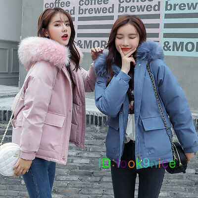 Lady Women Big Fur Collar Hooded Coat Winter Short Parka Warm Down Padded Jacket