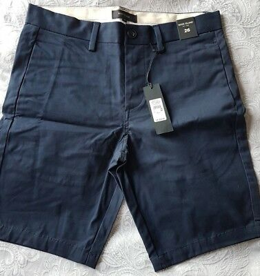 Bnwt Mens Boys River Island Smart Casual Navy Blue Chino Shorts  Size 26 W