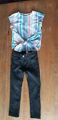 H&M Next Age 5 - 6 Yrs Skinny Black Jeans & Multicolour Tie Top Set Outfit