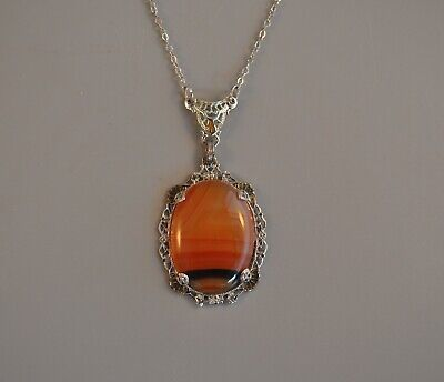 Antique Art Deco Sterling Silver Necklace Orange Black Agate Stone Flower Floral