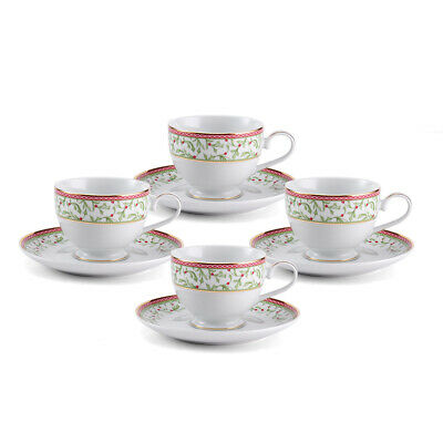 Mikasa Holiday Traditions Set of 4 Teacups & Saucers