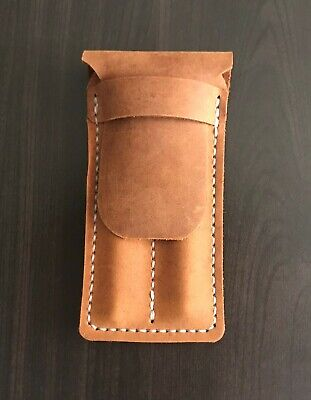 Rustic Leather Fountain Pen Pouch, Pen Case for 2 Pens