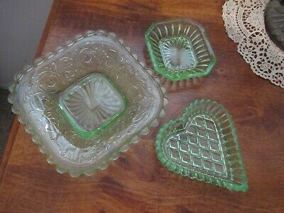 3 Green Glass DISHES..good condition..NOT URANIUM