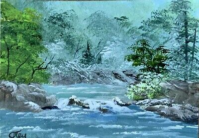 Aceo, acrylic,original, landscape, Whispering Falls By Donna Otey