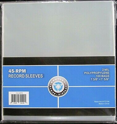 """7 INCH RECORD SLEEVES 45 RPM 2 MIL POLYPROPYLENE 100 BAGS IN PACK 7 3/8 x 7 5/8"""""""