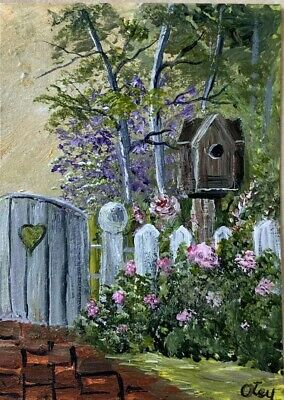 Aceo, acrylic,original, landscape, The Old Gate by Donna Otey