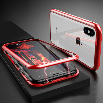 360° Magnetic Metal Adsorption Flip Tempered Glass Case Cover For Cell Phone