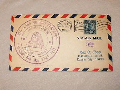 Old 1931 Red Cloud Airport Dedication Cover Air Mail Envelope Aviation Us Stamp