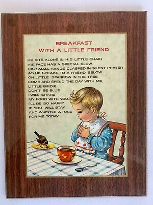 Vintage Mid Century Modern Breakfast with a Little Friend Poem Wood Wall Plaque