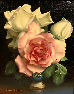 IRENE KLESTOVA 20th c. Russian French STILL LIFE PAINTING Roses in Sevres Vase