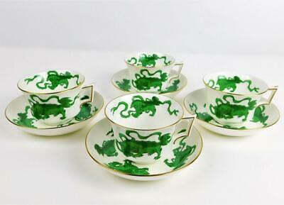 4 Mint Wedgwood Chinese Tiger Green Cups & Saucers