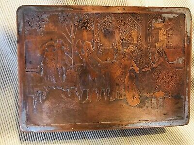 Antique French Hammered Brass Wood and Engraved Copper Plate Cigarettes Box