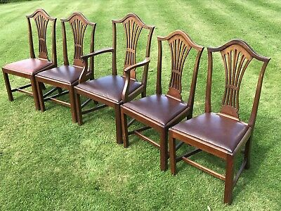 4 / 5 Five Matching Antique Georgian Mahogany Chippendale Style Dining Chairs
