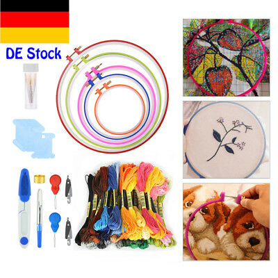 50 Farbe Embroidery tool set Stickgarn Strickrahmen Kreuzstich Striken New DE