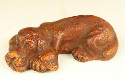 chinese rare old boxwood Hand carving dog statue table home decoration gift