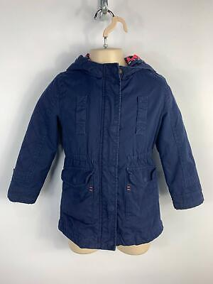 Girls Mothercare Dark Blue Casual Long Hooded Zip Up Coat Kids Age 4-5 Years