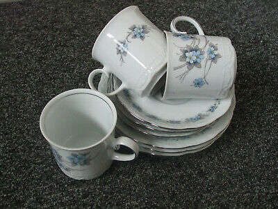 Vintage set of 3 cups, saucers and plates - Mitterteich Bavaria lovely pattern