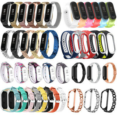 Silicone Stainless Steel Milanese Leather Bracelet Strap For Xiaomi Mi Band 4 3