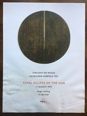 "Roger Ackling 1999 Total Eclipse Of The Sun Signed Poster 24"" x 18"" Norfolk Used"