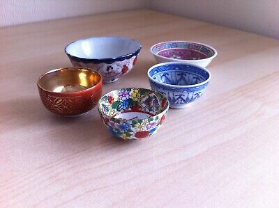 Collection of Five Oriental Tea Bowls - VGC