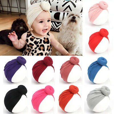 Newborn Baby Turban Knot Head Wrap Cotton Beanie Hat Winter Warm Cap Headwear UK