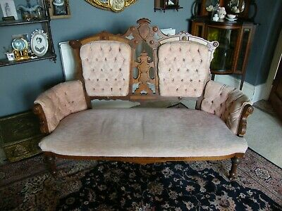 Antique Mahogany/Walnut/Rosewood-Salmon Pink Velvet Upholstered Chaise Longue