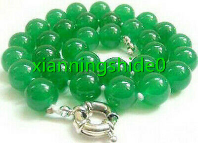 Fashion 12mm Green Jade Beads Silver White Gold Plated Clasp Women Girl Necklace