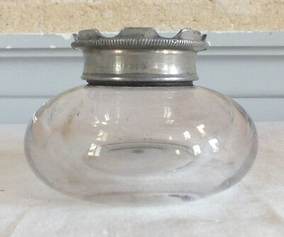 Inkwell Office Antique Glass Metal Inkwell