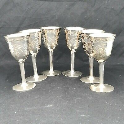 VINTAGE 6 x ORNATE SILVER PLATED SINGLE STEM WINE EACH APPROX 13.5CM HIGH