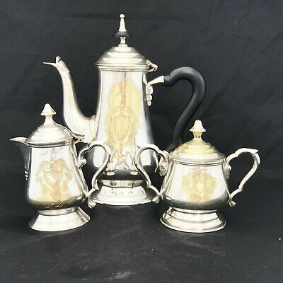 Vintage Indian Epns Silver Plated Teapot With Lidded Sugar & Milk Jug