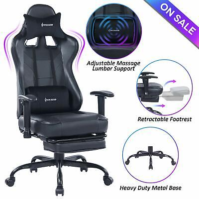 VON RACER Massage Gaming Chair,High Back Racing Computer Desk Office Chair,Black