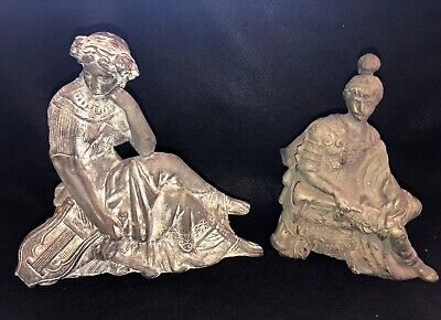 2 Atq Cast Metal Spelter Clock Toppers- Spartan Soldier Trumpet, Erato Muse Lyre