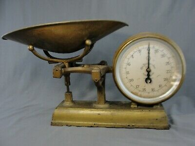 Antique Forschner & Sons 30# Grocery Store Table Top Scale Double Face Gold