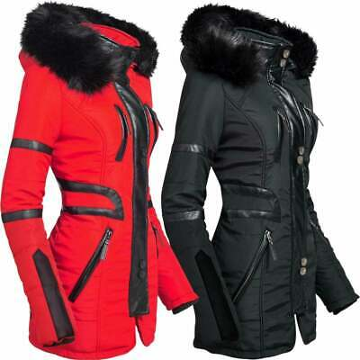 Spindle Womens High Quality Winter Parka Quilted Hood Coat Jacket Zip Pockets