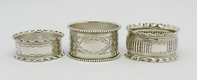 LOVELY JOBLOT OF 3 ANTIQUE SOLID SILVER NAPKIN RINGS HM 1897/99 CHESTER 1908 52g