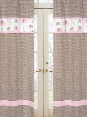 Pink and Taupe Mod Elephant Window Treatment Panels by Sweet Jojo Designs Set 2
