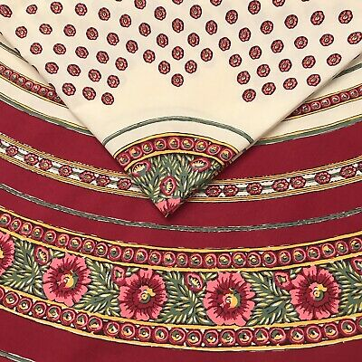 """VENT DU SUD France Provence Cotton Tablecloth Floral 70"""" Round Red Green Ivory"""