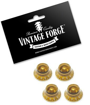 *NEW 4 Bell Top Hat CONTROL KNOBS for Gibson Les Paul 6mm Shaft Push On Black