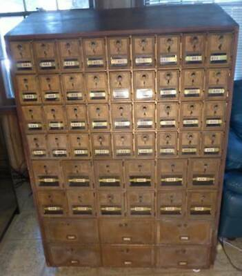 Genuine Original Oak Antique Free-Standing Sloped-top Mail-Box Postal Cabinet