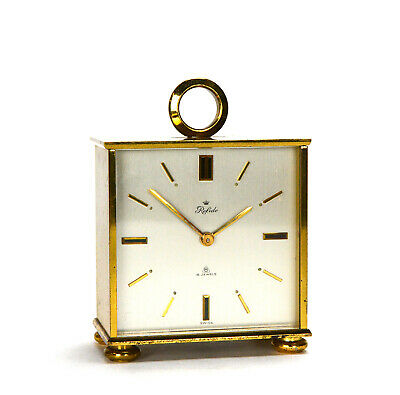 Vintage Swiss Relide 8 Day Rare Double Face 15 Jewel Brass Table Clock