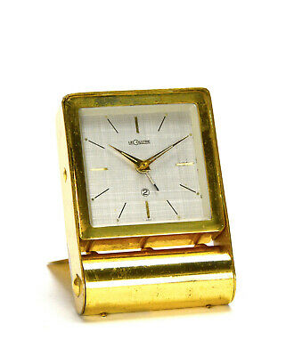 Vintage Swiss LeCoultre 2 Day Alarm Brass Folding Case Travel Clock