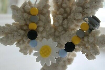 Handmade baby silicone dummy clip chain, teething flower