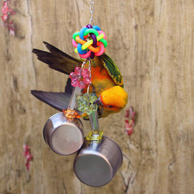 Stainless Steel Bird Parrot Cage Skewer Food Meat Stick Spear Fruit Holder Toy S